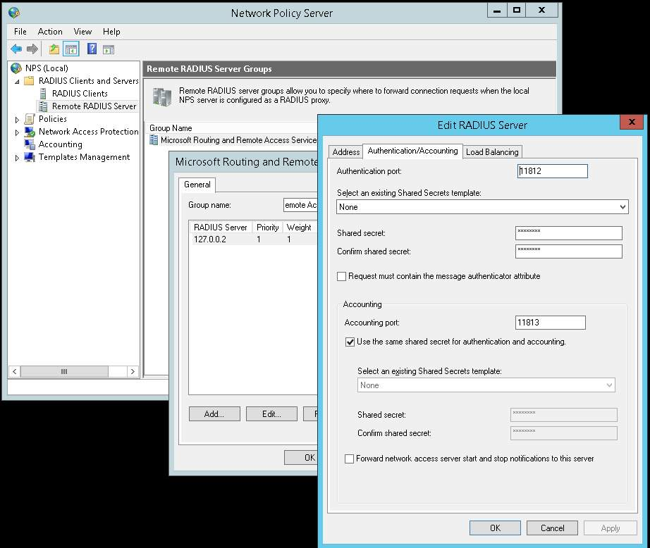 NPS configure remote RADIUS server group